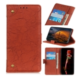 For Xiaomi Redmi 9A Copper Buckle Retro Crazy Horse Texture Horizontal Flip Leather Case with Holder & Card Slots & Wallet(Brown)