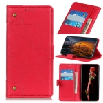 For OPPO Realme C11 Copper Buckle Retro Crazy Horse Texture Horizontal Flip Leather Case with Holder & Card Slots & Wallet(Red)
