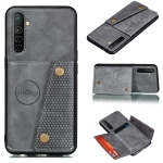 For OPPO X50 Pro 5G Double Buckle PU + TPU Shockproof Magnetic Protective Case with Card Slot & Holder(Grey)