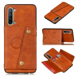 For OPPO Reno3 Double Buckle PU + TPU Shockproof Magnetic Protective Case with Card Slot & Holder(Light Brown)