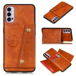 For OPPO Reno4 Pro 5G Double Buckle PU + TPU Shockproof Magnetic Protective Case with Card Slot & Holder(Light Brown)