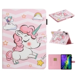 For iPad Pro 11 inch (2020) Colored Drawing Pattern Horizontal Flip PU Leather Case with Holder & Card Slot & Sleep / Wake-up Function(Pink Unicorn)