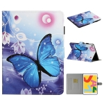For iPad 9.7 (2017/2018) & Air 2 & Air & iPad Pro 9.7 Colored Drawing Pattern Horizontal Flip PU Leather Case with Holder & Card Slot & Sleep / Wake-up Function(Blue Butterfly)