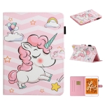 For iPad Mini 2019 & 4 & 3 & 2 & 1 Colored Drawing Pattern Horizontal Flip PU Leather Case with Holder & Card Slot & Sleep / Wake-up Function(Pink Unicorn)