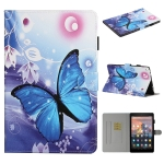 For Amazon Kindle Fire HD 8 (2016/2017/2018) Colored Drawing Pattern Horizontal Flip PU Leather Case with Holder & Card Slot & Sleep / Wake-up Function(Blue Butterfly)