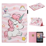 For Amazon Kindle Fire HD 8 (2020) Colored Drawing Pattern Horizontal Flip PU Leather Case with Holder & Card Slot & Sleep / Wake-up Function(Pink Unicorn)
