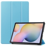 For Samsung Galaxy Tab S7 T870 Custer Texture Horizontal Flip Leather Case with Three-folding Holder & Sleep / Wake-up Function(Sky Blue)