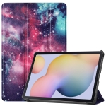 For Samsung Galaxy Tab S7 T870 Colored Drawing Pattern Horizontal Flip Leather Case with Three-folding Holder & Sleep / Wake-up Function(Milky Way Nebula)