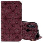 For OPPO A8 / A31 (2020) Lucky Flowers Embossing Pattern Magnetic Horizontal Flip Leather Case with Holder & Card Slots(Wine Red)
