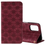 For OPPO A52 / A72 / A92 Lucky Flowers Embossing Pattern Magnetic Horizontal Flip Leather Case with Holder & Card Slots(Wine Red)