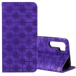 For OPPO A91 / F15 (2020) Lucky Flowers Embossing Pattern Magnetic Horizontal Flip Leather Case with Holder & Card Slots(Purple)