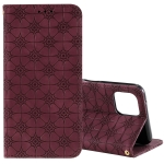 For OPPO A92s Lucky Flowers Embossing Pattern Magnetic Horizontal Flip Leather Case with Holder & Card Slots(Wine Red)