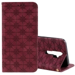 For OPPO A9 (2020) / A5 (2020) / A11X Lucky Flowers Embossing Pattern Magnetic Horizontal Flip Leather Case with Holder & Card Slots(Wine Red)