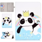 For 8 inch Universal Tablet PC Colored Drawing Pattern Horizontal Flip PU Leather Case with Holder & Card Slot(Crown Panda)
