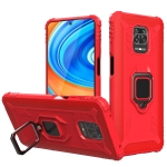 For Xiaomi Redmi 10X 5G Carbon Fiber Protective Case with 360 Degree Rotating Ring Holder(Red)