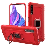For Xiaomi Mi A3 / CC9e Carbon Fiber Protective Case with 360 Degree Rotating Ring Holder(Red)