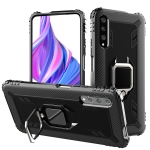 For Xiaomi Mi A3 / CC9e Carbon Fiber Protective Case with 360 Degree Rotating Ring Holder(Black)