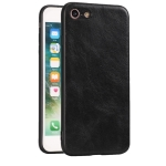 For iPhone 7 / 8 Crazy Horse Textured Calfskin PU+PC+TPU Case(黑色)