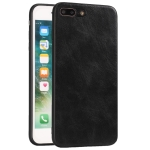 For iPhone 7 Plus / 8  Plus Crazy Horse Textured Calfskin PU+PC+TPU Case(黑色)