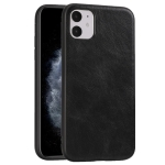 For iPhone 11 Crazy Horse Textured Calfskin PU+PC+TPU Case(黑色)