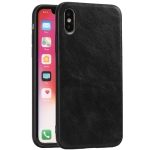 For iPhone X Crazy Horse Textured Calfskin PU+PC+TPU Case(黑色)