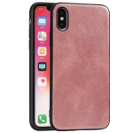 For iPhone X Crazy Horse Textured Calfskin PU+PC+TPU Case(Rose Gold)