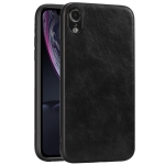 For iPhone XR Crazy Horse Textured Calfskin PU+PC+TPU Case(黑色)