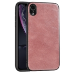For iPhone XR Crazy Horse Textured Calfskin PU+PC+TPU Case(Rose Gold)