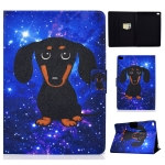 For iPad Air / Air 2  / iPad 9.7 2017 / 2018 TPU Electric Pressed Horizontal Flip Leather Case with Holder & Card Slot & Sleep / Wake-up Function(Little Black Dog)
