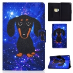 For Kindle Fire HD 10 2015 / 2017 / 2019 TPU Electric Pressed Horizontal Flip Leather Case with Holder & Card Slot & Sleep / Wake-up Function(Little Black Dog)
