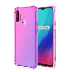 For Oppo Realme C3 Four-Corner Airbag Shockproof Gradient Color Clear TPU Case(Pink Purple)