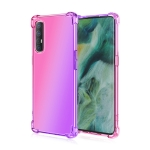 For Oppo Reno3 Pro Four-Corner Airbag Shockproof Gradient Color Clear TPU Case(Pink Purple)