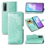 For Vivo Y70s Halfway Mandala Embossing Pattern Horizontal Flip PU Leather Case with Card Slots & Holder & Wallet(Green)