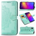 For Meizu Note 9 Halfway Mandala Embossing Pattern Horizontal Flip PU Leather Case with Card Slots & Holder & Wallet(Green)