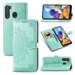 For Samsung A21 (US Version) Halfway Mandala Embossing Pattern Horizontal Flip PU Leather Case with Card Slots & Holder & Wallet(Green)