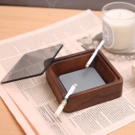 Creative Gift Solid Wood Walnut Ashtray,Glass Cover With Double Grooves