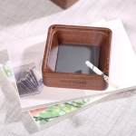 Creative Gift Solid Wood Walnut Ashtray,Glass Cover With Single Slot