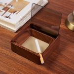 Creative Gift Solid Wood Walnut Ashtray,Double Groove Glass
