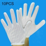 10 Pairs Anti-static Striped Dispensing Gloves, Size:Free Size