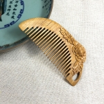 Fugui Peony Green Sandalwood Comb Antistatic Massage Hair Salon + Gift Box, Gift Box Colors Are Random