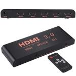 4X1 4K/60Hz HDMI 2.0 Switch with Remote Control, EU Plug