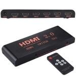 5X1 4K/60Hz HDMI 2.0 Switch with Remote Control, EU Plug