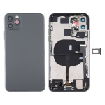 Battery Back Cover Assembly (with Side Keys & Power Button + Volume Button Flex Cable & Wireless Charging Module & Motor & Charging Port & Loud Speaker & Card Tray & Camera Lens Cover) for iPhone 11 Pro(Grey)