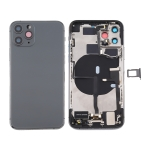 Battery Back Cover Assembly (with Side Keys & Power Button + Volume Button Flex Cable & Wireless Charging Module & Motor & Charging Port & Loud Speaker & Card Tray & Camera Lens Cover) for iPhone 11 Pro Max(Grey)