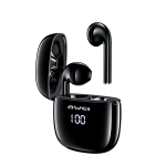 awei T28P Bluetooth V5.0 Ture Wireless Sports LED Display Headset with Charging Case (Black)