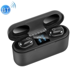 Dt-18 Wireless Two Ear Bluetooth Headset With 2000mAh Charging Cabin & Touch & Intelligent Magnetic Suction Charging (Black)
