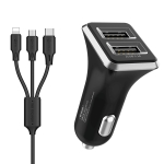 WK WP-C19 3.1A Dual USB  3 in 1 8 Pin / Micro USB / USB-C / Type-C Data Cable + Spyker Car Charger (Black)