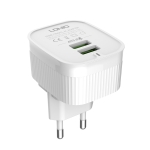 LDNIO A201 2.4A Dual USB Charging Head Travel Direct Charge Mobile Phone Adapter Charger With 8 Pin Data Cable (EU Plug)
