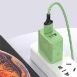 2A Mini Universal Liquid Color Dual USB Ports Charger, US Plug(Green)