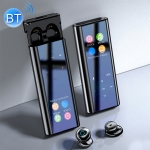 Q1 Multifunctional MP3 Wireless Bluetooth Earphone with LED Display & Charging Box, Support for Calling & Voice Assistant & Power Bank & Flashlight (Black)